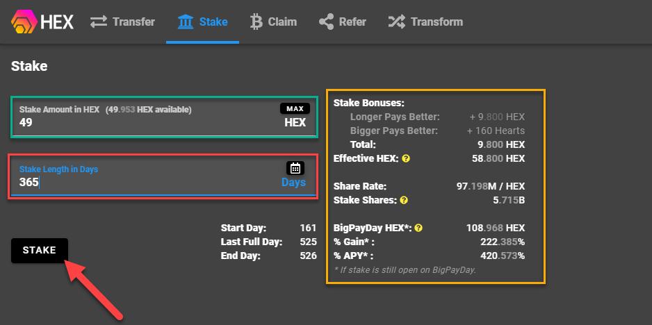 02 enter stake details